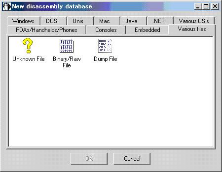 図3 IDA Proで読み込むバイナリの種類を選択する画面