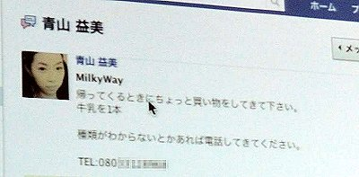 Facebookのメッセージにも送信できる。ちなみにメールの文章は「ですます調」のいかにも他人行儀な文体になっている