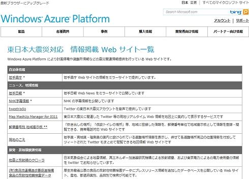 「東日本大震災対応 情報掲載 Web サイト一覧」では、Windows Azure上に構築された震災対応の情報掲載Webサイトが紹介されている