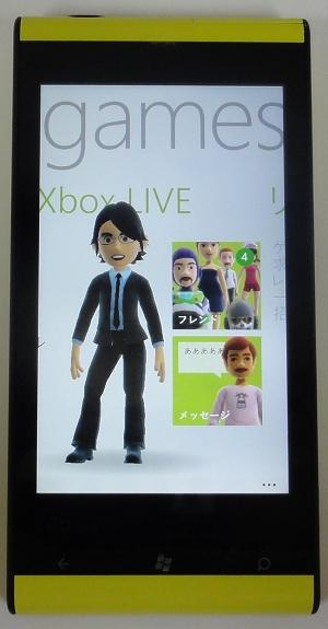 Xbox LIVEアプリ。自分で作成したアバターがアニメーション表示されるなど画面の演出は賑やか
