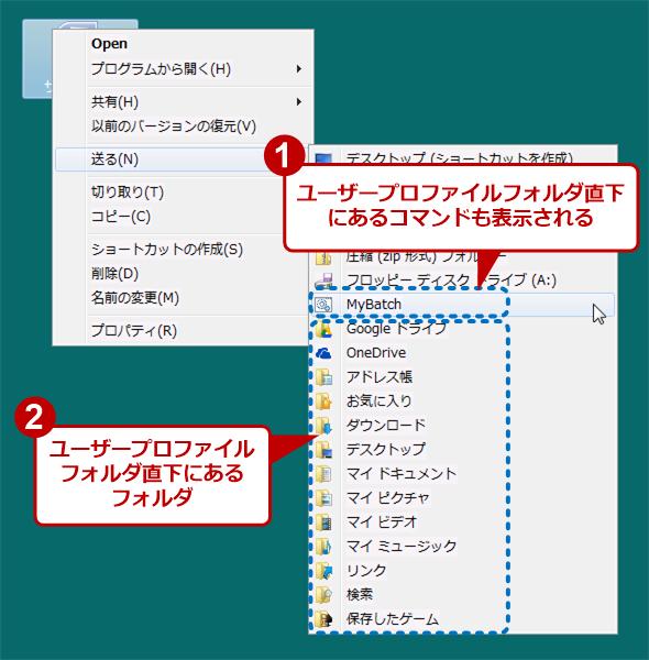 Windows 7のユーザーフォルダも送り先にする
