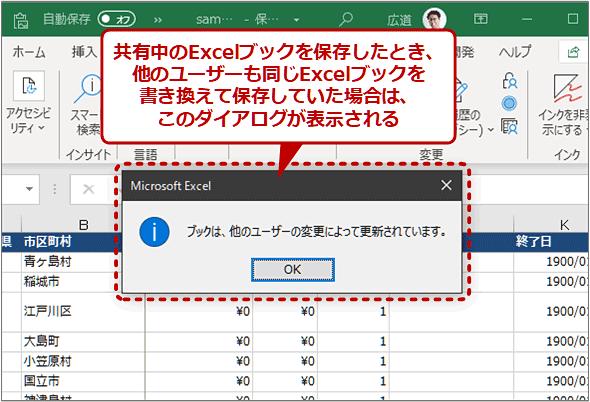 他のユーザーが編集したことを表すメッセージ