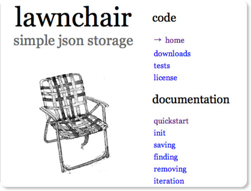 Lawnchair: Simple JSON Storage