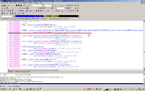 図2 CreateFileAのアドレス(アセンブリ)(クリックすると拡大します)