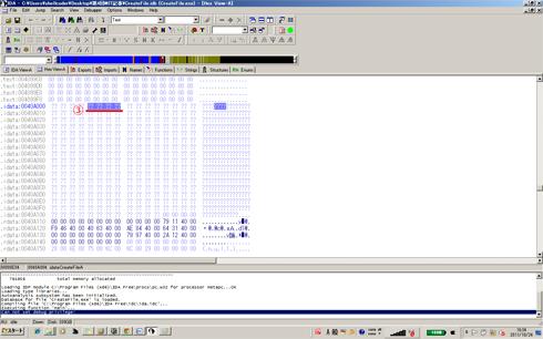 図3 CreateFileAのアドレス(メモリダンプ)(クリックすると拡大します)