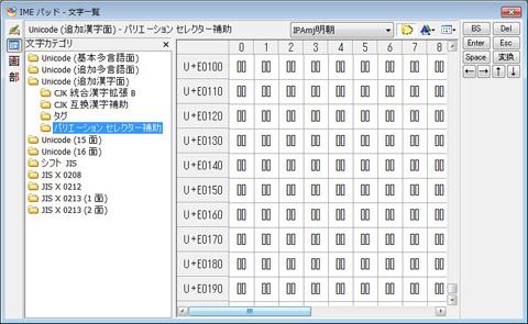 図1 Microsoft IMEのIMEパッドで異体字セレクタを入力。クリックすると拡大