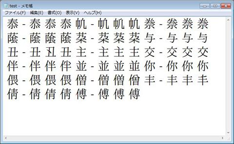 図2 Windows 7のメモ帳で、異体字テキストを表示したところ。クリックすると拡大