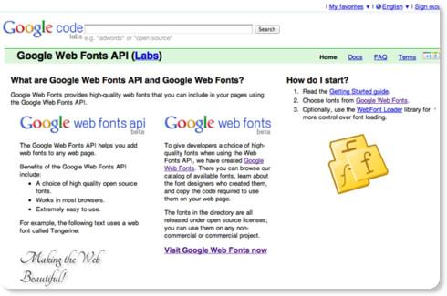 Google Web Fonts API - Google Code