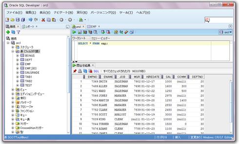 図3 Oracle SQL DeveloperでSQLを実行したところ。クリックすると拡大