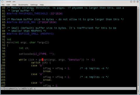 図3 ライブラリ関数のgetopt(3)を調べようとして、その単語の上で[Shift]キーを押しながら「k」キーを押す。クリックすると拡大