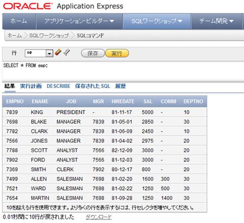 図15 SQL文を実行したところ。クリックすると拡大