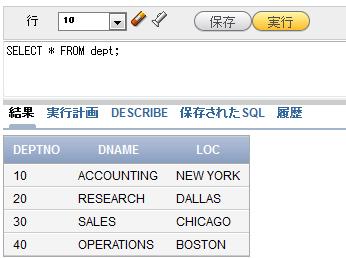 図2 SELECT文で、EMP表のデータを取り出したところ