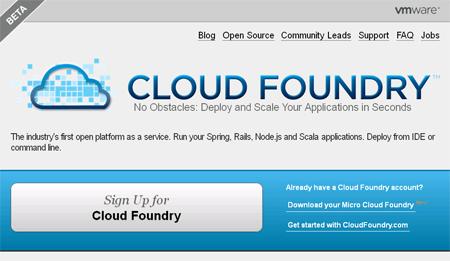 画面1 cloudfoundry.comの「Sign Up for Cloud Foundry」からアカウントを取得できる