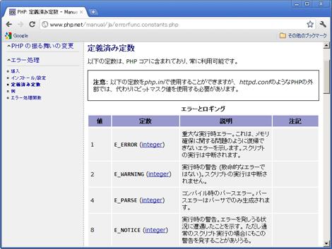 図2 PHPがログに残すメッセージには4種類ある。