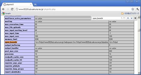 図1 open_basedirをphp.iniとバーチャルホストに設定した状態。