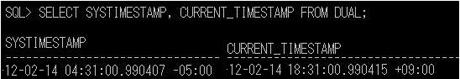 図b 関数「SYSTIMESTAMP」「CURRENT_TIMESTAMP」の実行例。「-5:00」「-9:00」がそれぞれタイムゾーンを表す。クリックすると拡大