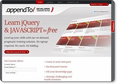Learn jQuery & JAVASCRIPT for free | appendTo Developer Learning Center