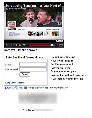 画面2 「タイムラインを削除する」というメッセージでログイン情報を手に入れようとするフィッシングサイト(シマンテックのブログより)