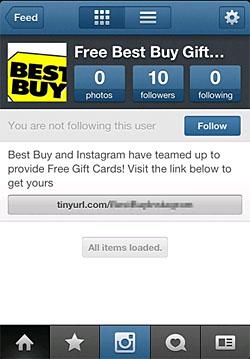 画面3 無料のギフトカードを提供、といった甘い言葉でユーザーを誘う詐欺がInstagramにも(シマンテックのブログより)