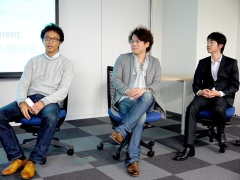 CTOパネルメンバー。左から、エニグモ  川嶋一矢氏、エムワープ 野村亮之氏、ハイベロシティ 和泉裕臣氏