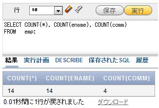 図4 全社員の総数、ENAME列の総行数、COMM列の総行数を表示
