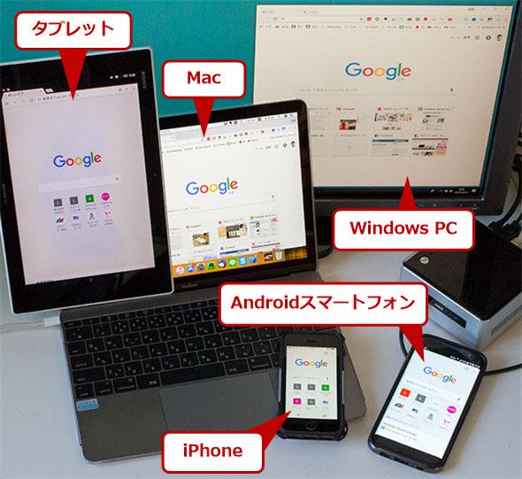さまざまな端末(デバイス)で利用できるGoogle Chrome