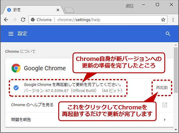 自動的に更新(アップデート)を準備するChrome