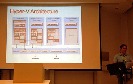 写真1 BSDCan 2012で行われた「FreeBSD on Microsoft Hyper-v」のプレゼンテーションの模様