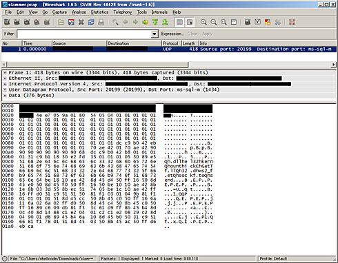 図1 Wiresharkでslammer.pcapを開いた様子(クリックすると拡大します)