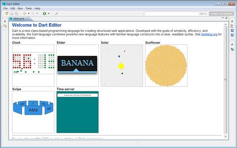 図2 Welcomeページを最大化したときのDart Editor