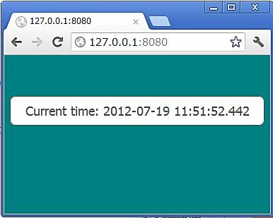 図3 Webブラウザでtime_server.dartへアクセス