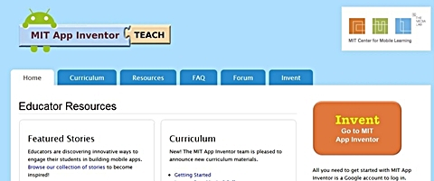 「Educator Resources | MIT App Inventor」のトップ画面