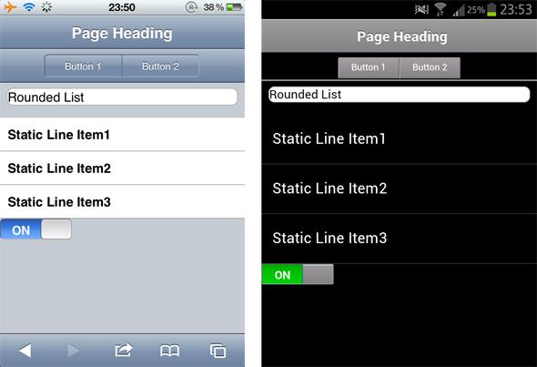図1 iPhoneとAndroidデバイスから見たモバイルアプリケーションの例