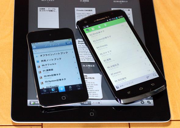 Evernoteアプリケーションは主要なスマートフォン/タブレットで利用可能
