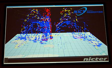 日本への攻撃を可視化。高さはポート番号、色はプロトコルで図示する