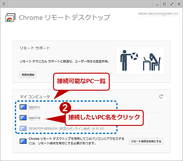 Chromeリモートデスクトップの実行画面