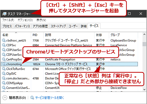 「Chromeリモートデスクトップサービス」が実行中であることを確認する