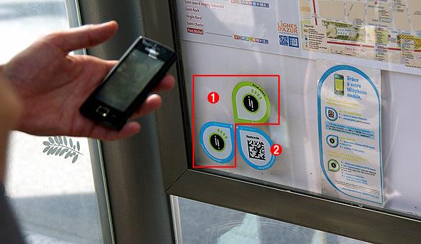 NFCタグが添付された「スマート・ポスター」の例