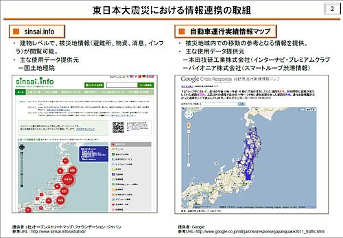 データ連携によって生みだされた「価値」の例として挙げられた「sinsai.info」と「自動車運行実績情報マップ」