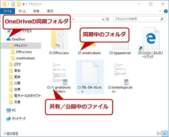OneDriveのオンラインストレージと同期されるフォルダ