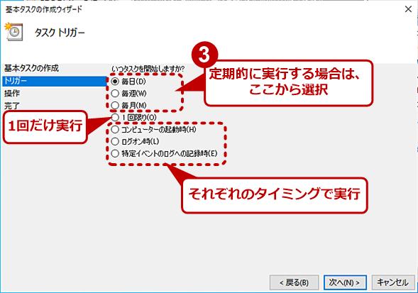 [タスクトリガー]:タスクを起動するタイミングを指定する