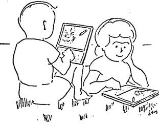 1968年に描かれた「Dynabook」のコンセプト画。左がジミー、右がベス(推測)