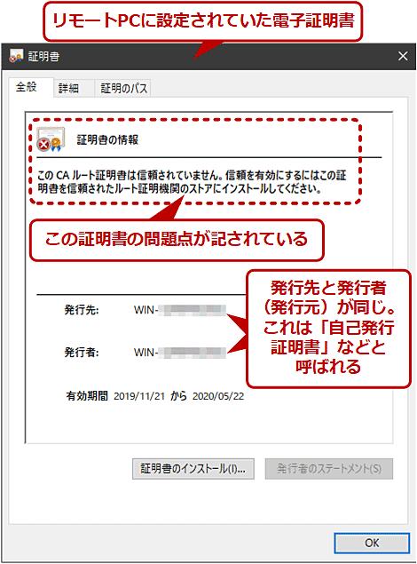 デフォルト設定のリモートPCへの接続時に表示される証明書の警告メッセージ(2/2)