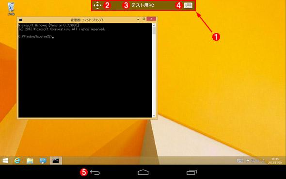 接続中のリモート・デスクトップの画面