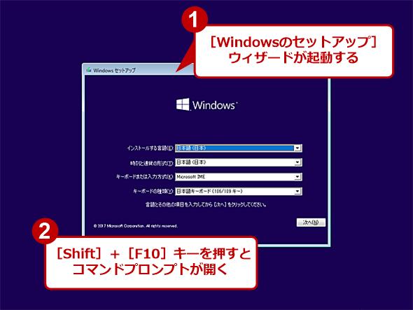 Windows 10のWindowsセットアップメディアで起動したところ