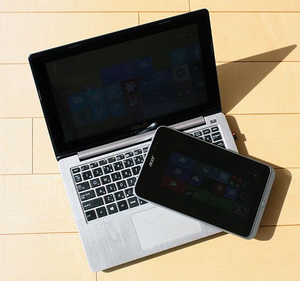 一般的なモバイルノートPCと8インチWindowsタブレット