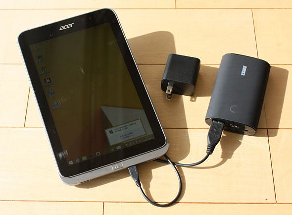 8インチWindowsタブレットはUSB端子から充電できる