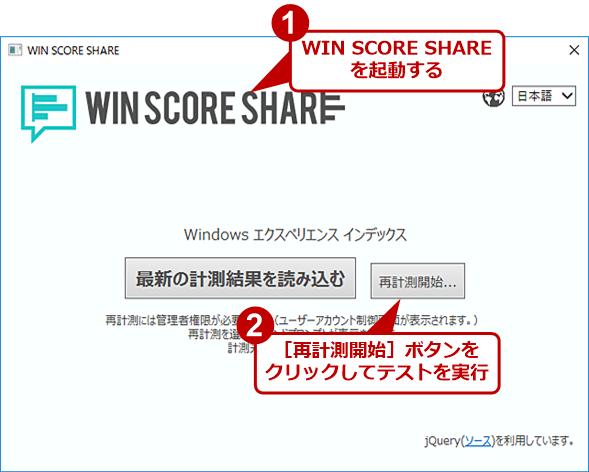WIN SCORE SHAREの画面