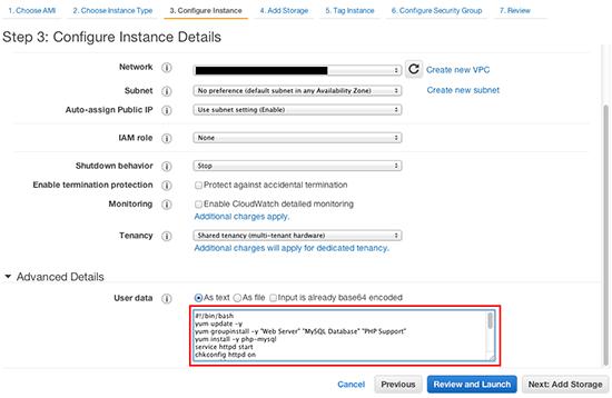 AWS Tips:User dataにスクリプトを設定してサーバー設定を